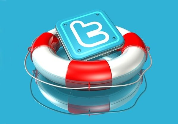 3d illustration of a metallic Twitter logo resting in a large red and white lifesaver on a blue reflective surface