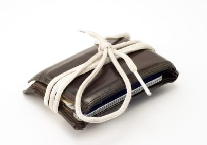 Wallet wrapped in a shoestring